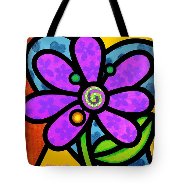 Purple Pinwheel Daisy Tote Bag