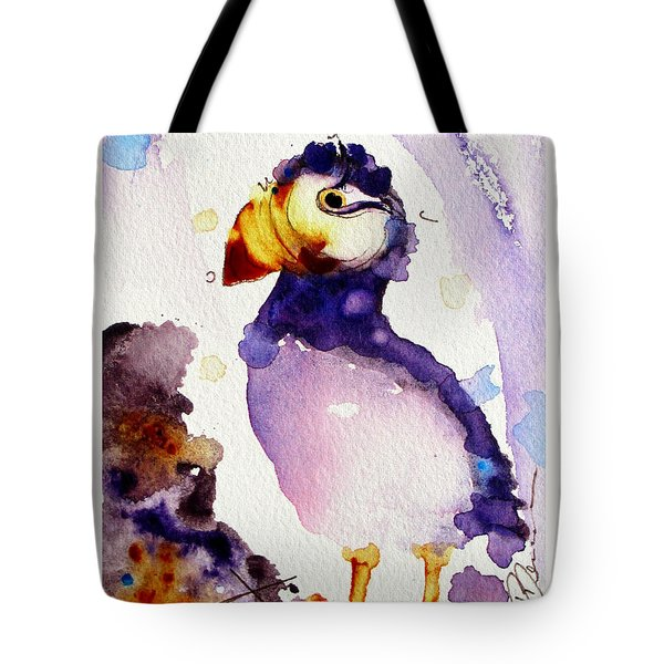 Purple Puffin Tote Bag