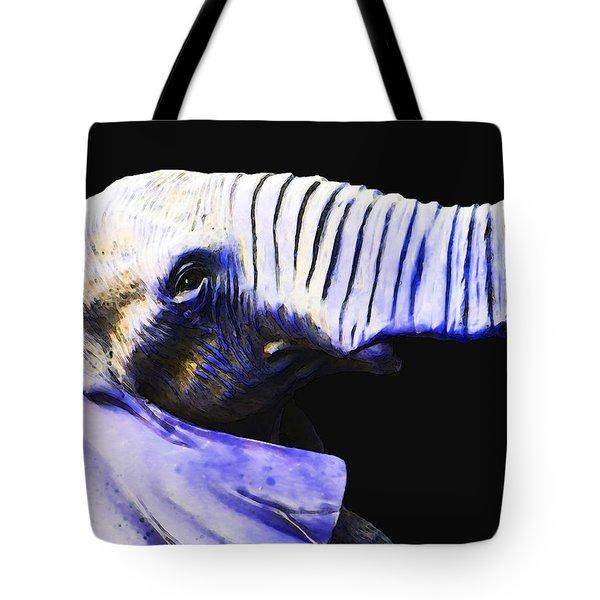 Purple Rein - Vibrant Elephant Head Shot Art Tote Bag by Sharon Cummings