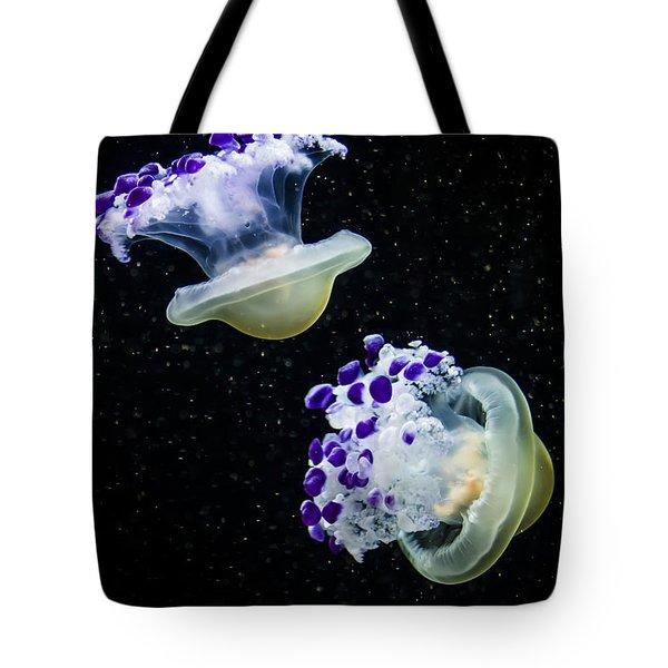 Purple Spaceships Tote Bag