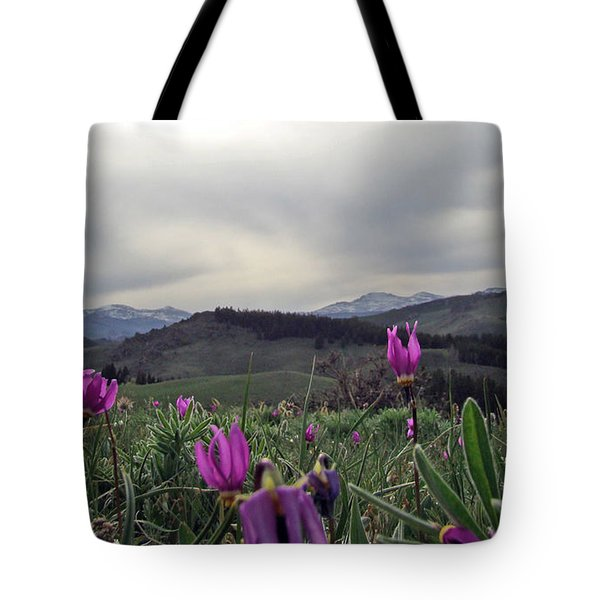 Tote Bag featuring the digital art Purple Spring In The Big Horns by Cathy Anderson
