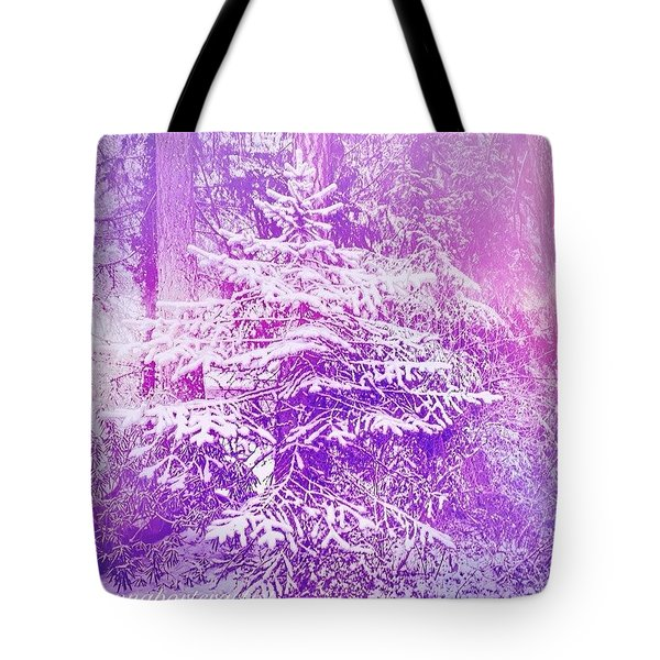 Purple Spruce In The Snow Tote Bag