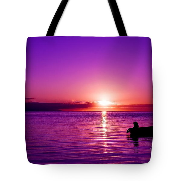 Tote Bag featuring the photograph Purple Sunrise by Yew Kwang