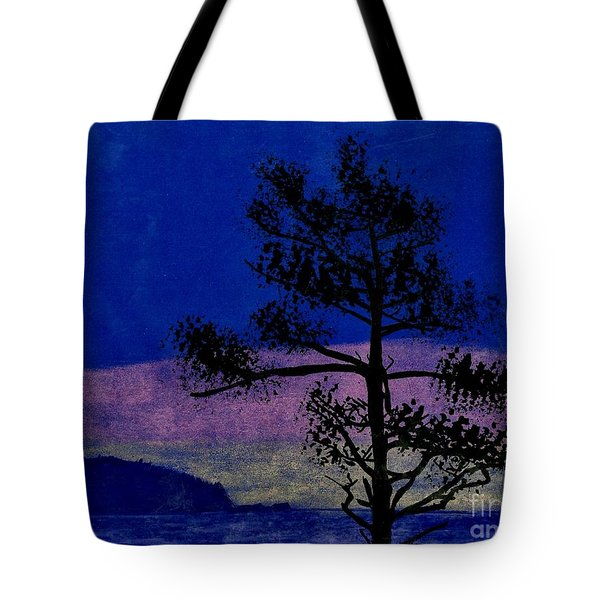 Tote Bag featuring the drawing Purple Sunset Bay by D Hackett