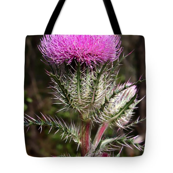 Purple Thistle  Tote Bag by Debra Forand