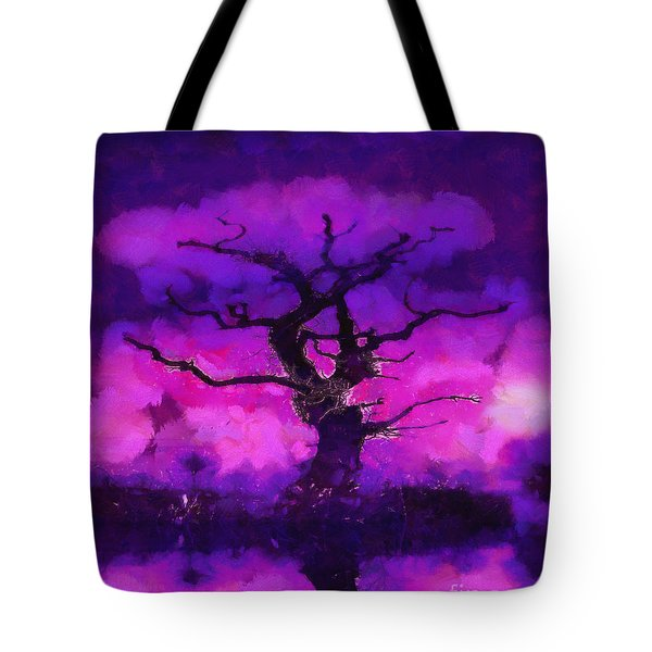 Purple Tree Of Life Tote Bag by Pixel Chimp