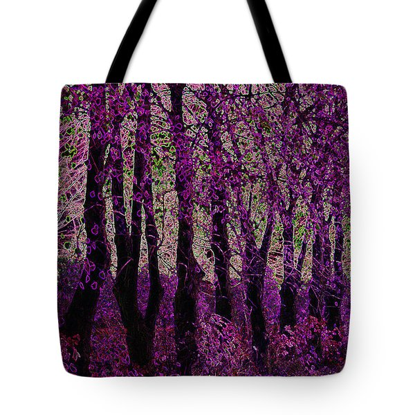 Purple Trees Tote Bag by Carol Lynch