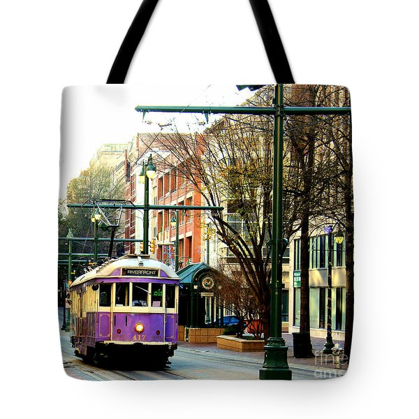 Purple Trolley Tote Bag by Barbara Chichester