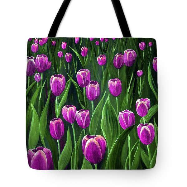 Purple Tulip Field Tote Bag by Anastasiya Malakhova