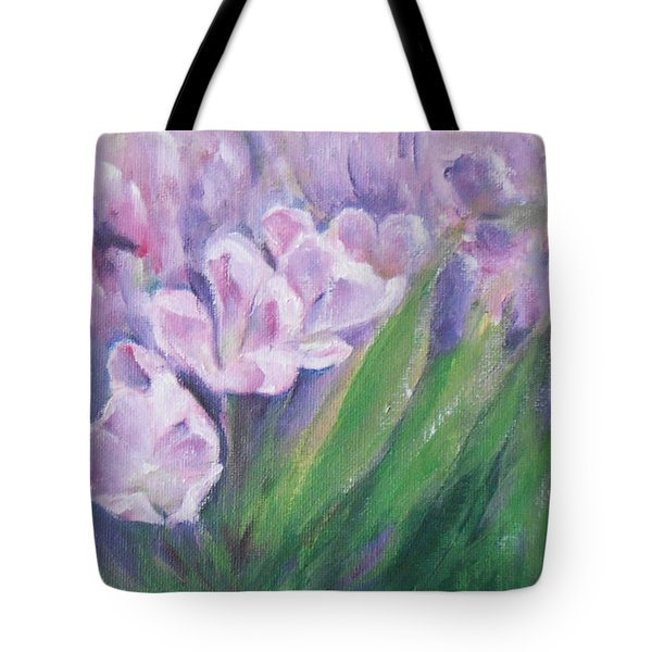 Tote Bag featuring the painting Purple Tulips  by Jane  See