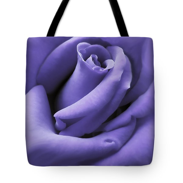 Purple Velvet Rose Flower Tote Bag