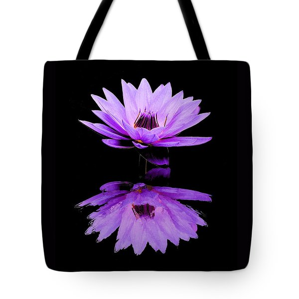 Purple Water Lily Tote Bag by Elizabeth Budd
