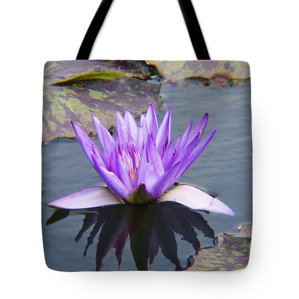 Purple Water Lily With Lily Pads One Tote Bag by J Jaiam