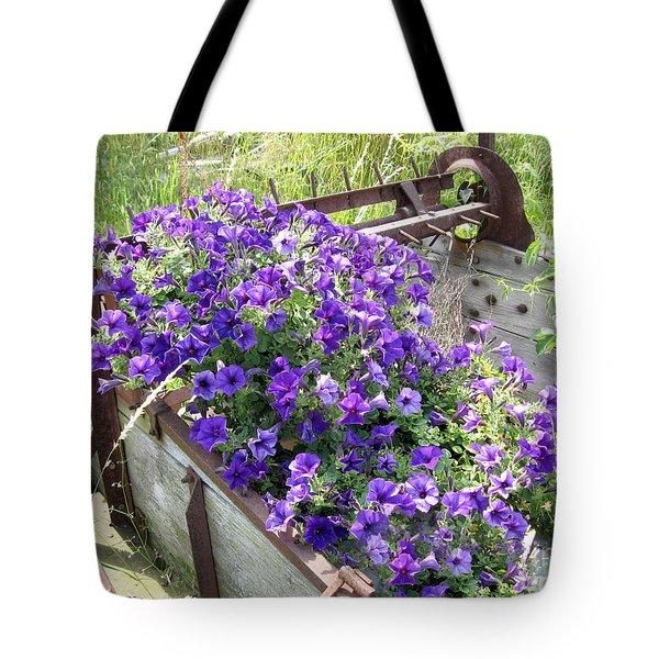 Purple Wave Petunias In Rusty Horse Drawn Spreader Tote Bag
