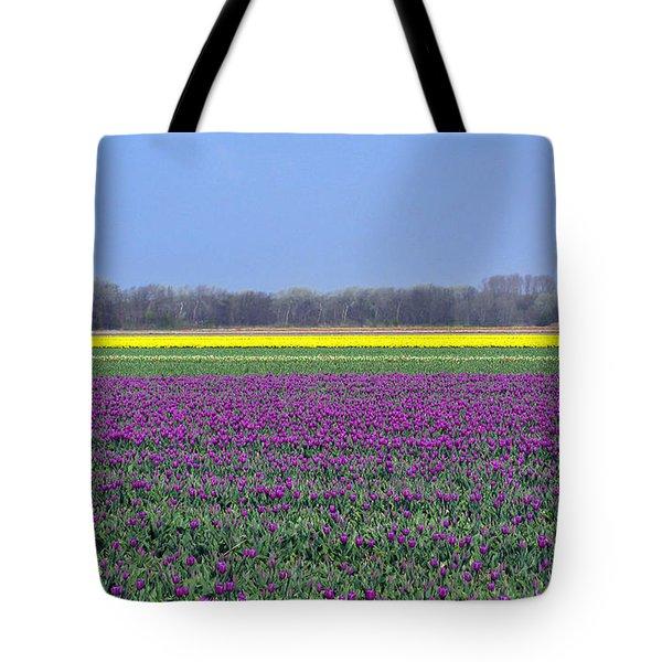 Purple With Golden Lining. Fields Of Tulips Series Tote Bag by Ausra Huntington nee Paulauskaite