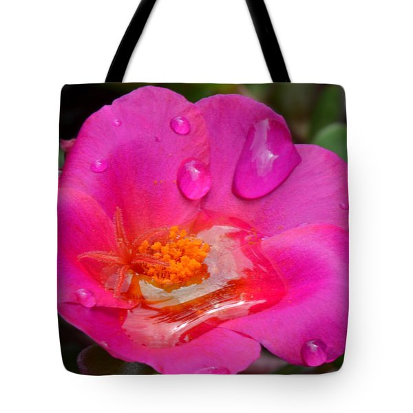 Purslane Flower In The Rain Tote Bag by Sandi OReilly