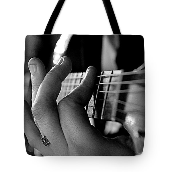 Pushing Frets Tote Bag