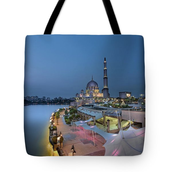 Putra Mosque At Blue Hour Tote Bag by David Gn
