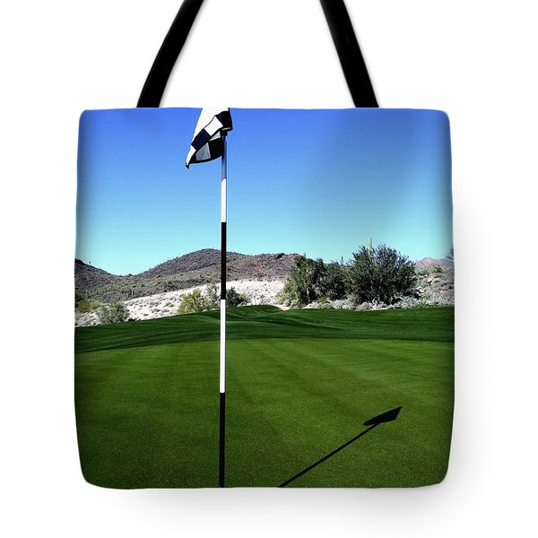 Putting Green And Flag On Golf Course Tote Bag