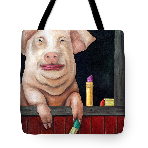 Putting Lipstick On A Pig Tote Bag