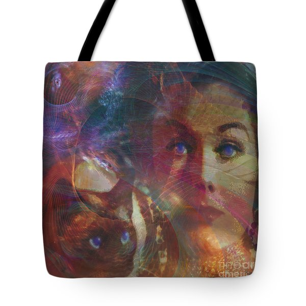 Pyewacket And Gillian - Square Version Tote Bag by John Beck