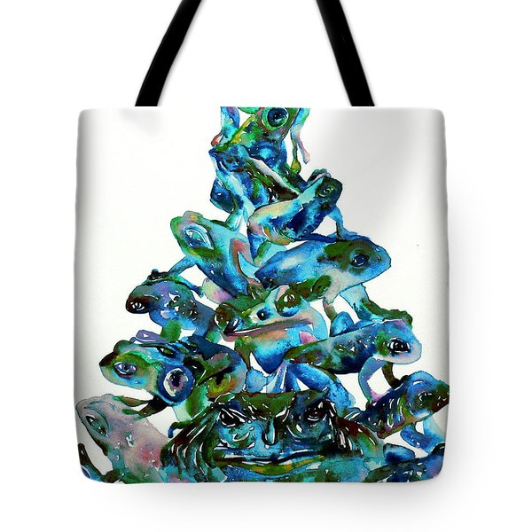 Pyramid Of Frogs And Toads Tote Bag by Fabrizio Cassetta