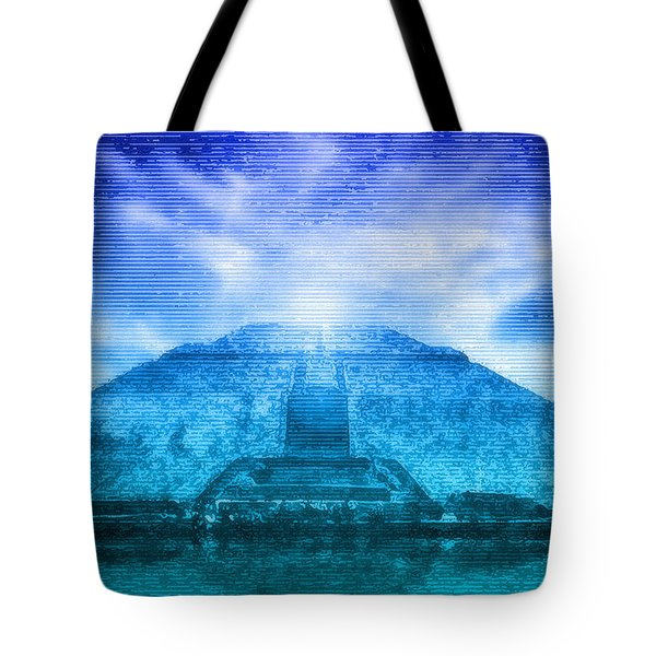 Pyramid Of The Sun Tote Bag by WB Johnston