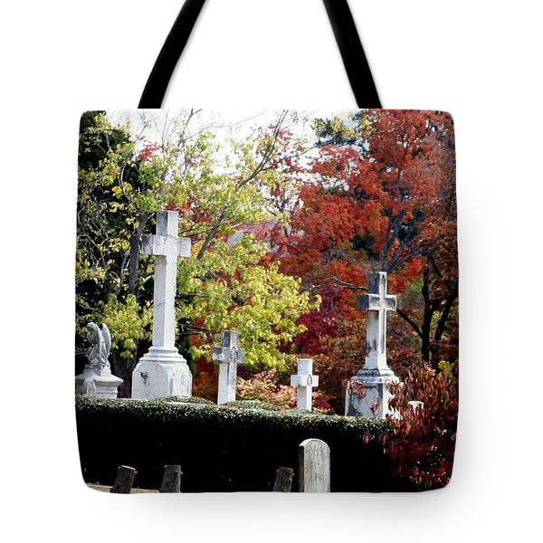 Tote Bag featuring the photograph Quad Crosses In Fall by Lesa Fine