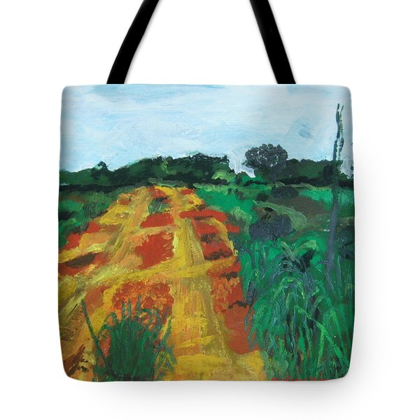 Tote Bag featuring the painting Quagmire To My Village by Mudiama Kammoh