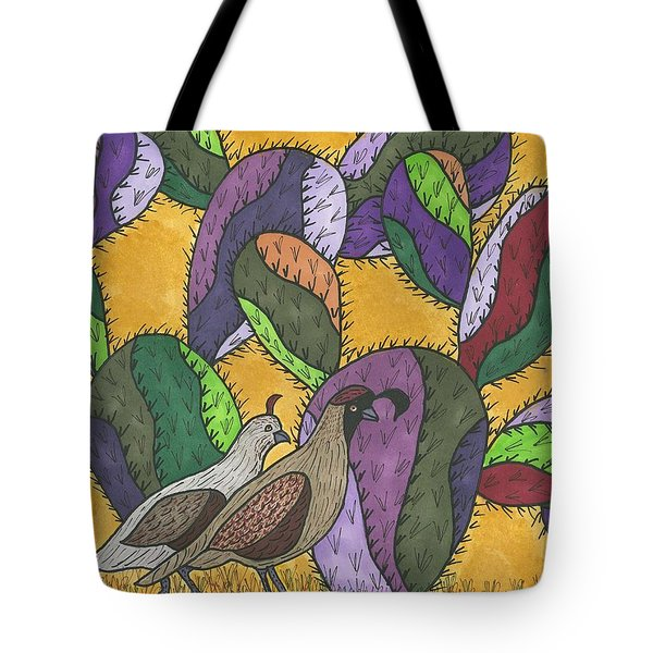 Tote Bag featuring the painting Quail And Prickly Pear Cactus by Susie Weber