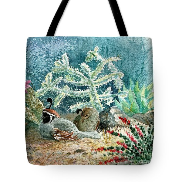 Quail At Rest Tote Bag by Marilyn Smith