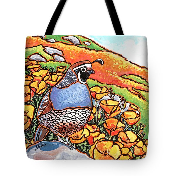 Quail Poppies Tote Bag by Nadi Spencer