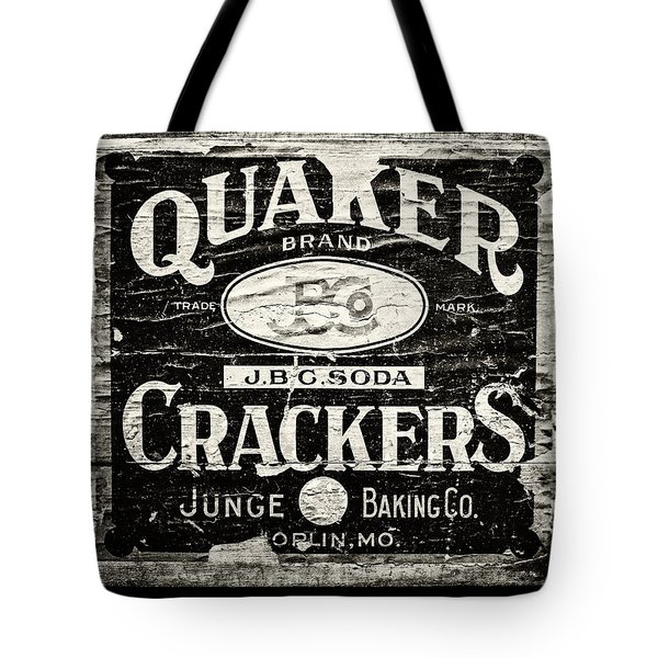 Quaker Crackers Rustic Sign For Kitchen In Black And White Tote Bag by Lisa Russo