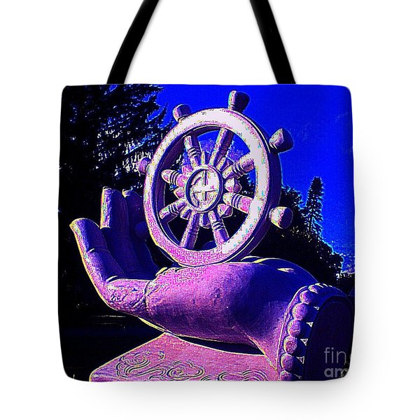 Tote Bag featuring the photograph Buddhist Dharma Wheel 2 by Peter Gumaer Ogden