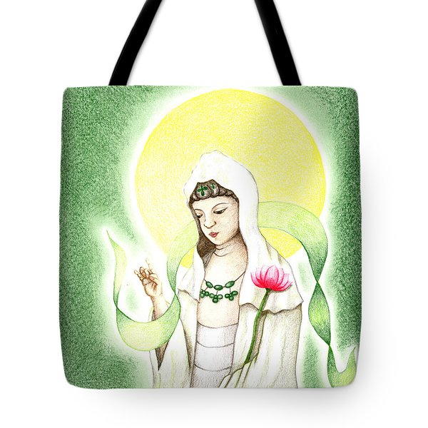 Tote Bag featuring the drawing Quan Yin by Keiko Katsuta