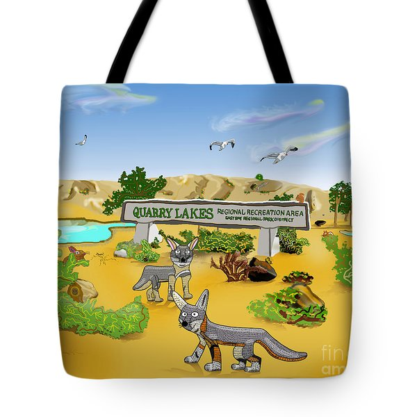 Quarry Lakes And Gray Foxes Tote Bag