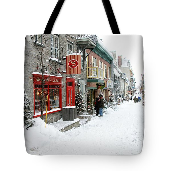 Quebec City In Winter Tote Bag by Thomas R Fletcher