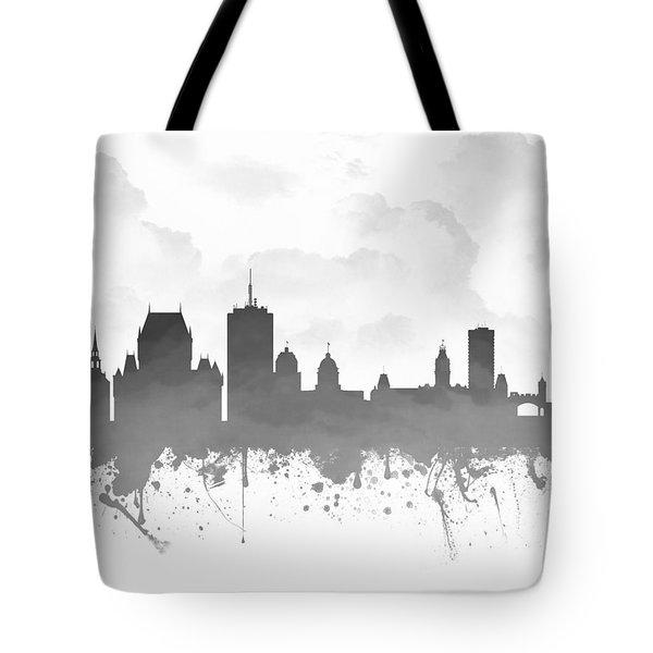 Quebec City Skyline - Gray 03 Tote Bag