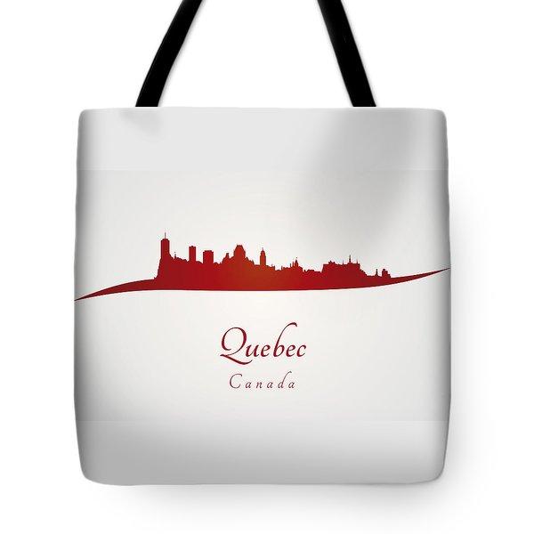 Quebec Skyline In Red Tote Bag