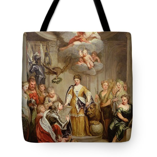 Queen Anne Presenting Plans Of Blenheim To Military Merit Oil On Canvas Tote Bag