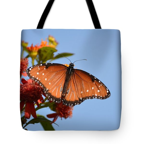 Tote Bag featuring the photograph Queen Butterfly by Debra Martz