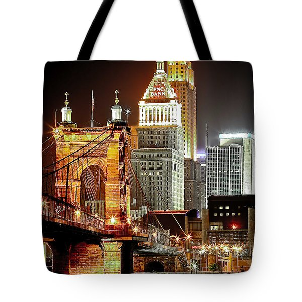 Queen City At Night Tote Bag by Keith Allen