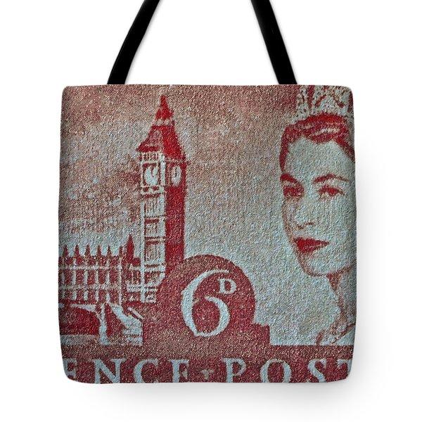 Queen Elizabeth II Big Ben Stamp Tote Bag