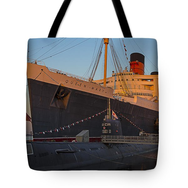 Queen Mary At Sunset Tote Bag