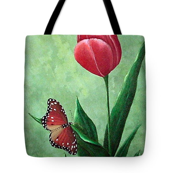 Queen Monarch And Red Tulip Tote Bag