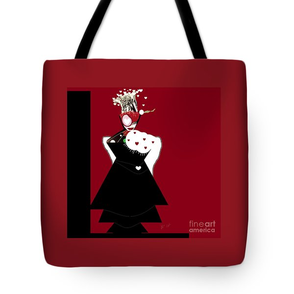 Tote Bag featuring the digital art Queen Of Hearts by Ann Calvo