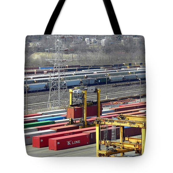 Tote Bag featuring the photograph Queensgate Yard Cincinnati Ohio by Kathy Barney