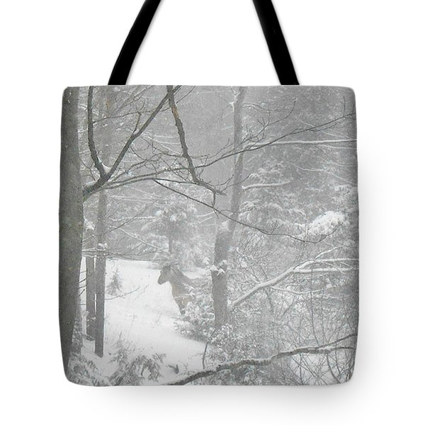 Querida In The Snow Storm Tote Bag by Patricia Keller