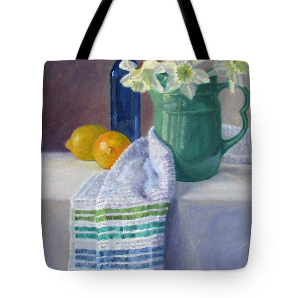 Quiet Moment- Daffodils In A Blue Green Pitcher With Lemons Tote Bag by Bonnie Mason