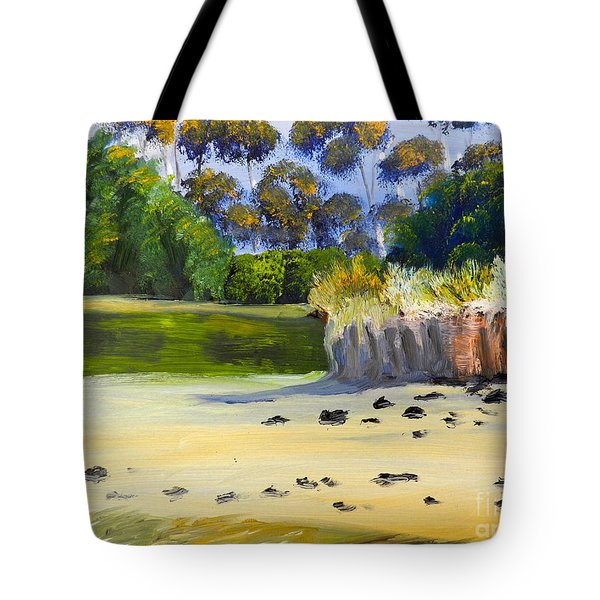 Tote Bag featuring the painting Quiet Sand By The Creek by Pamela  Meredith